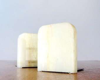 Pair of Vintage Stone Bookends Agate Onyx Marble