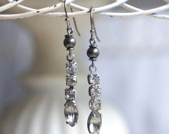 Vintage rhinestone earrings rhinestone drops rhinestone dangles bridal earrings assemblage jewelry F585-by French Feather Designs.