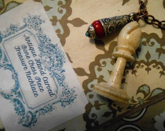 Antique Bishop Uhlig Chess Bone Game Piece and Tibetan Repousse Coral Drop Treasure Relic Necklace