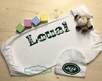 New york jets baby etsy personalized baby gown and hat set new york jets baby newborn gown baby negle Images