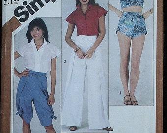 Simplicity 5529 1980s 80s Blouse Shirt Wrap Shorts Wrap Pants Crop Pants Peddle Pushers Vintage Sewing Pattern Size 8 Bust 31.5