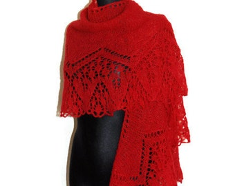 Red Hand Knit Lace Shawl, Grenadine Evening Stole, Woman's Hand Knitted Shawl, Autumn Shawl in Cherry Red, Christmas Shaw, Wedding Stole
