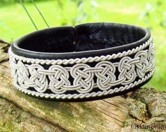 BEOWULF Sami Bracelet Cuff | Unisex Viking Bracelet in Black Reindeer Leather with Pewter Braids | Custom Handmade from Tjekijas Design
