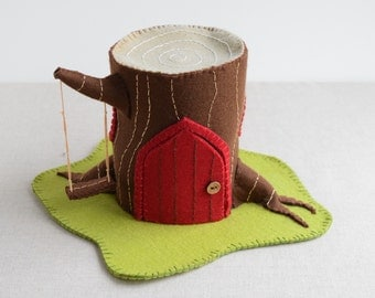 Log House Sewing Pattern - DIY Embroidery Sewing Pattern for Log Play house - Gnome & Fairy Tree house soft toy tutorial