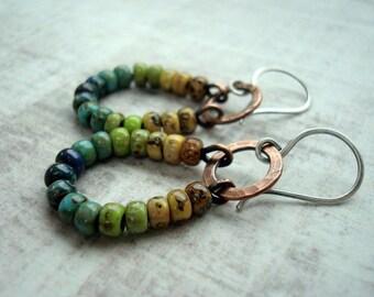 Boho Earrings - Boho Jewellery - Copper Earrings - Beaded Hoop Earrings - Blue earrings - Green earrings - Yellow earrings - Rustic Jewelry