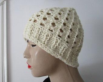 Cream Hat, Ivory Hat, Ladies Beanie, School Hat, 6-10 years, Hole Hat Kids Hat, Women Hat, Winter Accessory, Handmade Hat, Warm, Vintage hat