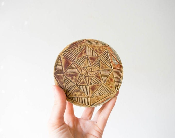 Mid Century Modern Tribal Studio Pottery Covered Bowl // Bohemian Home Decor