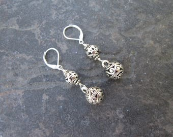 Filigree ball dangle earrings with Sterling Silver lever backs Silver Filigree Dangle Earrings
