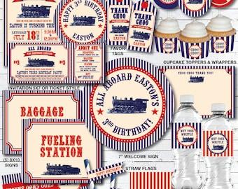 Train Birthday Party Decorations, Train Birthday Invitation, Train Party, Train Birthday Party, Vintage Train Birthday, Printable PDF Files