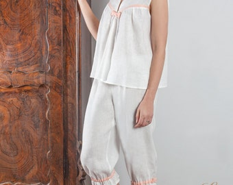 "Linen Pajama Set ""Baby Doll"" With Contrast Binding/ Linen Sleepwear For Women/Luxury Linen Pajama"