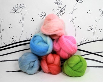Wooly Buns loose wool roving assortment in Hydrangea, 1.5 oz, needle felting supplies,fiber sampler in happy spring shades of wool roving