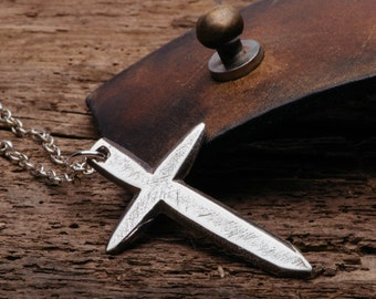 Dagger Style Christian Cross Necklace Handmade Sterling Silver Jewelry for Men or Women