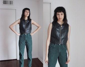 Vintage 90s Genuine Leather Vest Medium