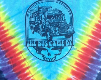 Grateful Dead tie-dyed Furthur bus lot tee shirt - Grateful Dead, Jerry Garcia, hippie, Kesey, LSD, 420, Steal Your Face, SYF