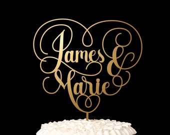 Custom Wedding Cake Topper - Heart Cake Topper w First Names - Amore Collection
