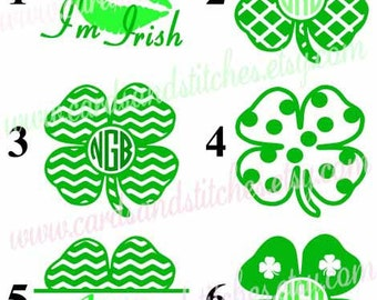 Clover Vinyl Decal - Shamrock Decal - Vinyl Decal - Monogram Decal - Yeti Decal - Laptop Decal OR Clover Iron-on - DIY Iron-on Transfer