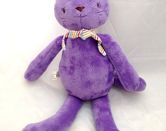 purple kitty cat stuffed animal plushie - soft, washable