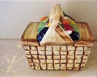 Vintage McCoy Pottery Cookie Jar Fruit Basket Cozy Country Kitchen Cottage Decor French Kitchen