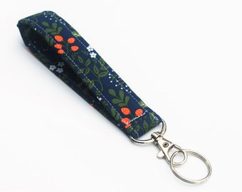 Strawberry Key Chain, Wristlet Key Fob With Snap, Short Lanyard, Navy Floral
