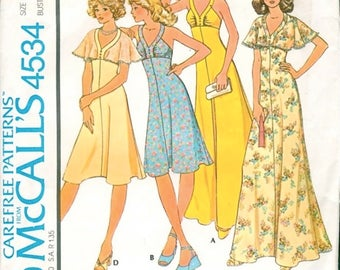 Fabulous Uncut Vintage 1970s McCall's 4534 Sun or Evening Sleeveless Maxi Dress and Cape Sewing Pattern B31.5