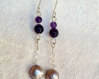 Amethyst and Pearl Earrings with Handcrafted Argentium Silver Ear Wires