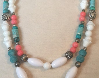 Vintage Redeux Retro 1950 Milkglass Coral Turquoise & Silver Two Strand Fun Palm Beach Necklace
