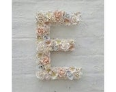 Flower Letter Floral Letter Pale Blush Pink Flowers Personalised Wall Hanging Letter Initial Monogram Nursery Decor Baby Shower Art