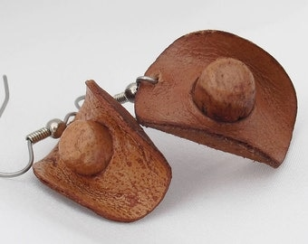 Vintage Cowboy Hat Earrings Hand Tooled Leather Miniature Hats for your Cowgirl