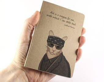 Artist Notebook, Gottfried Helnwein Notebook, Gottfried Helnwein Quote, Cat Notebook, Small Notebook