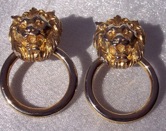 Anne Klein Lion Earrings Door Knockers Gold Tone Hoop Adjustable Tension Clip On High Fashion Designer Vintage FREE SHIPPING