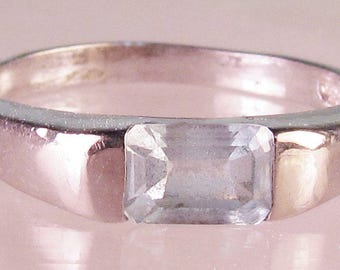 Solid 925 Sterling Silver and Emerald Cut Aquamarine Ring in Embedded Setting, Size 7