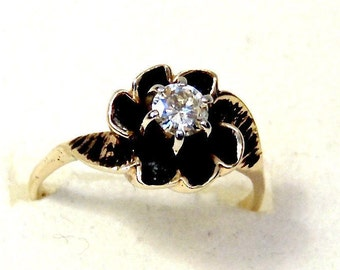 Sale! Vintage Diamond Solitaire Ring in 14K Yellow Gold and Black Enamel, Engagement, Promise Ring, Pinky Ring