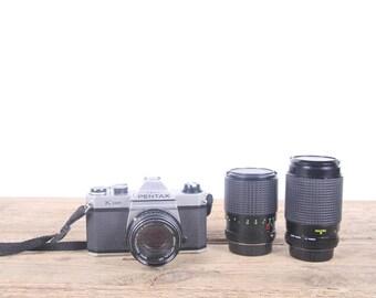 Vintage Pentax K1000 Camera w/ 3 Lenses / Vintage Slr Camera / Pentak Film Camera / Old 35mm Camera / Student Camera / Antique Camera