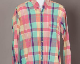90s Colorful Plaid Light Weight Men's Button Down Shirt - PRIVATE CLUB - L