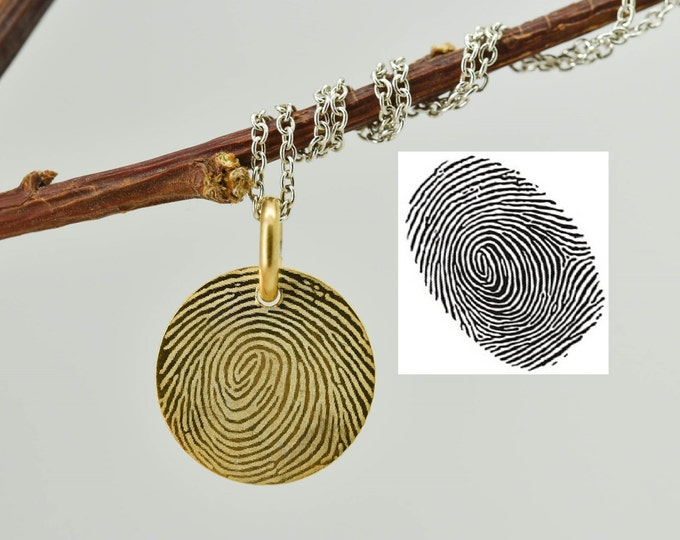Fingerprint Necklace, Fingerprint Jewelry, Engraved Necklace, Engraved Jewelry, Personalized Necklace, Bridesmaid Gift, Gold Plated