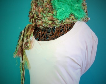 Crochet Cowl,Knit Cowl,Chunky Knit,Unique Scarves,Neck Wrap,Neck Warmer,Neck Wear,Cowl Scarf,Neck Scarf,Womens Scarves,Green,Brown,Gift,