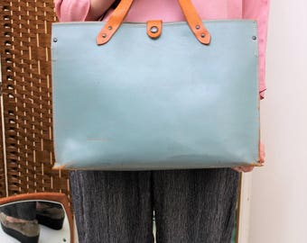 Large Pale Blue and Tan Leather Holdall/Shopper Bag