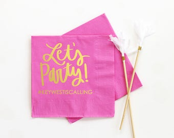 Personalized Birthday Napkins Lets Party Beverage Napkins Custom Cocktail Napkins Pink and Gold Birthday Party Supplies Printed Bar Napkins