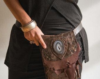 On sale MAGMA 205⎜Versatile leather utility belt with gemstone⎜Tribal utility belt⎜ Dystopia Post apocalyptic bag⎜Burning man festival bag
