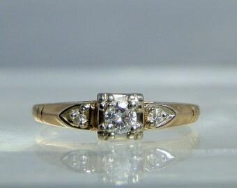 Vintage Keepsake 14k Yellow Gold Diamond Engagement Ring Size 8 Hallmarked 3 Diamonds Traditional Vintage Wedding Jewelry DanPickedMinerals