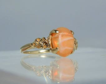 Vintage 14k Gold Opal Ring Size 8 Fantastic Orange Matrix with White Stripes and Deep Color Play Flashes DanPickedMinerals