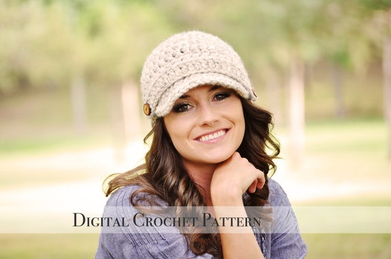 Crochet Pattern / Crochet Hat Pattern / Brimmed Hat Pattern / Crochet Newsboy Hat Pattern / Beanie Hat Pattern / Womens Hat Pattern