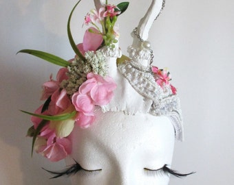 Flowers Antler Headdress Flower Fairy horns Faun pink withe flowers headdress forest Flower Crown Viktorian Mythical
