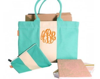 Monogram Canvas Color Block Tote Bag - Personalized Canvas Color Block Tote Bag - Monogrammed Jade Green Tote - Monogrammed Canvas Tote Bag