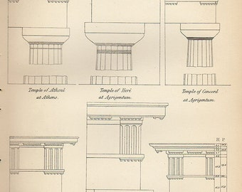 Antique print 1890. Engraving. Classical Greek Columns Architecture 2. 126 years old print. Antique print plate.9.5x6.25 inches, 24x16cm