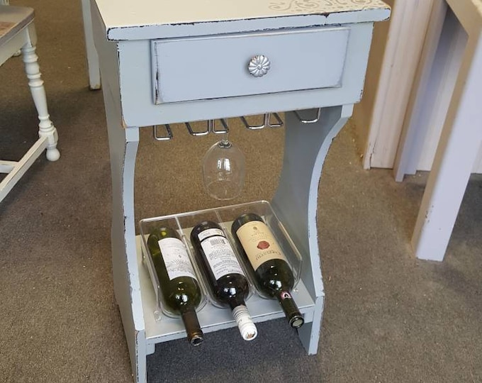 Vintage Shabby chic table, mini bar, wine bar PICK UP ONLY liquor cabinet, farmhouse, glass rack, wine stand, country cottage, beach, rustic