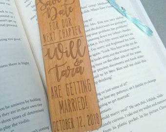 FREE US SHIPPING - Wedding Save the Date Bookmarks - Custom Engraved Wood