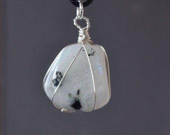 Moonstone Necklace, Moonstone Jewelry, Tumbled Moonstone Necklace, Tumbled Moonstone, Spring Jewelry, Moonstone on Cord, Polished Stone