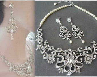 Bridal jewelry set ~ Swarovski crystal and pearl jewelry set ~ Statement Jewelry set ~ Bib necklace ~ Wedding jewelry set ~ ALEXIS