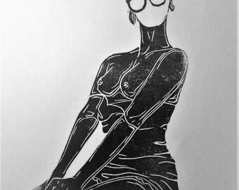 """inspiration erotique vintage linogravure imprimé à l'encre à l'huile  sur papier de riz  """" Sidonie """""""
